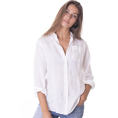 f37ff34a CAMIXA Women's 100% Linen Casual Shirt Slim Fit Button-Down Airy Basic  Blouse