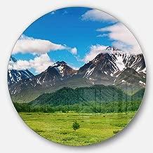 "Designart MT6959-C23 Snowy Volcanoes - Landscape Photo Disc - Disc of 23"" ,Green/Blue,23 X 23"
