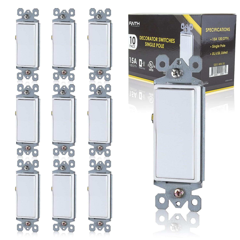 Faith 10-Pack Single-Pole Decorator Cheap SALE Free Shipping New Start Switch Light Paddle Wall