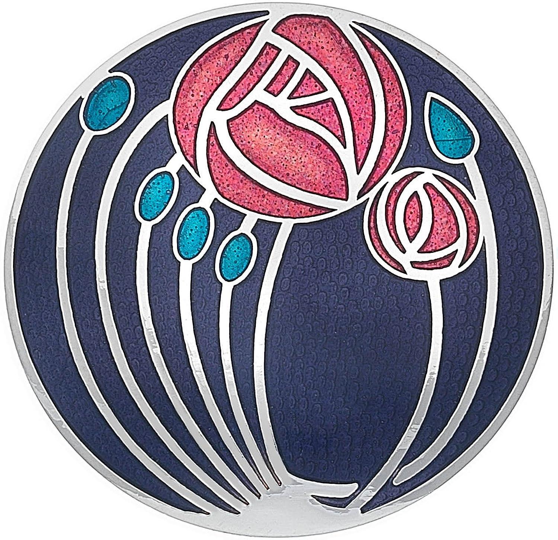 Sea Gems Ladies Rennie Mackintosh Design 40MM Round Roses and Buds Brooch in Gift Box 7702