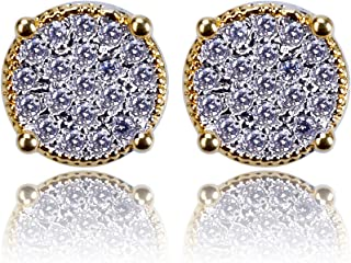 HongBoom Men's 18K Gold Plated CZ Rhinestone Fully Iced Out Square Ruby Stud Earring