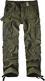 Men's Wild Cotton Casual Military Army Cargo Camo Combat Work Cargo Hiking Pants with 8 Pocket