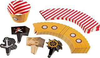 Pirate Cupcake Toppers and Liners - 100-Piece Pirate Cupcake Wrappers Baking Supplies, Kids Birthday Party Favors for Cake and Muffin Decorations, White, Red, Black