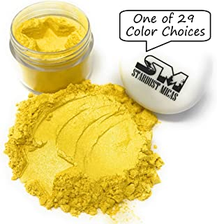 Stardust Mica Pigment Powder Cosmetic Grade Colorant for Makeup, Soap Making, Epoxy Resin, DIY Crafting Projects, Bright True Colors Stable Mica Batch Consistency Yellow Zest