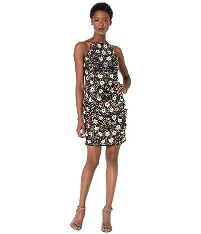 Adrianna Papell Petal All Over Beaded Mesh Halter Sheath Cocktail Dress (Black Multi) Women