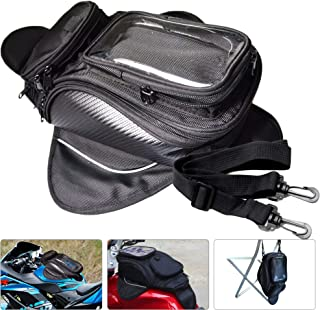 an-Fly Motorcycle Tank Bag Waterproof, Motorcycle Backseat Saddle Bag Water Resistant with Super Strong Magnetic Fuel Tank Bag,PVC Pocket for Mobile Phones,Convenient Navigation Tail Accessories Bags