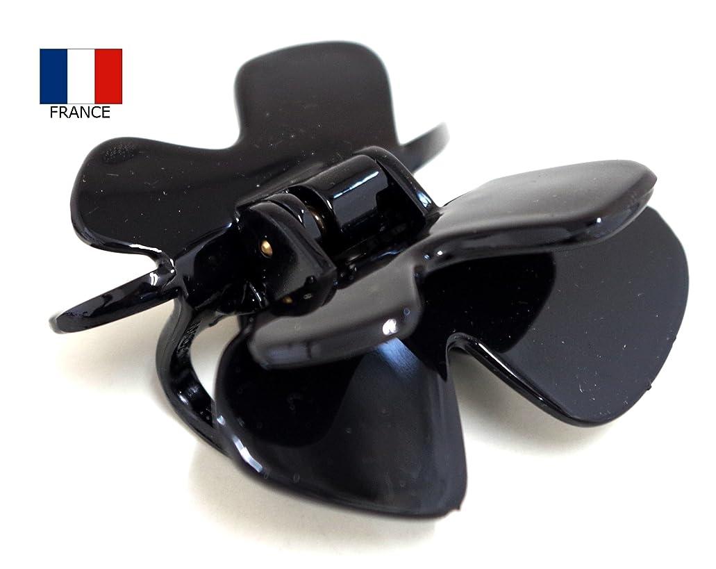 精査小康の間でフランス製ダブルバタフライバンスクリップ【ヘアアクセサリー】NO.854 (ブラック)