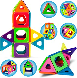 Discovery Kids 24 Piece Best Magnetic Tiles Set, Magnetic Building Blocks Kit for Boys/Girls, 2D, 3D Educational Creativity, STEM Toys for Children