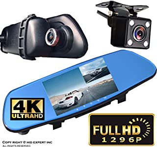 "ICBEAMER Rearview Mirror 1296P FHD 4K DVR Car Camera Recorder 5"" LCD Screen 170 Wide Angle, G-Sensor, Loop Recording"