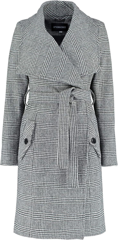 De La Creme  Women's Large Collar Black Prince of Wales Check Winter Belted Wrap Coat
