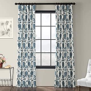 PRTW-D51A-96 Duchess Printed Cotton Twill Curtain, Blue, 50 x 96