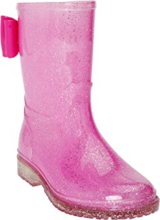 JELLY BEANS Girls Glitter Rubber Rain Boots 100% Waterproof with Bow Pink Size 13