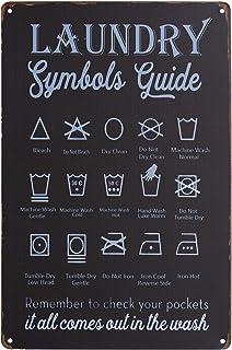 PXIYOU Symboles de linge - Typographie vintage vintage - Métal - Plaque de buanderie - Collection Balck - 20,3 x 30,5 cm