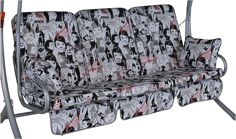 Angerer Exklusive Schaukelauflage 3-Sitzig Design Audrey, grau, 180 x 50 x 70 cm, 1020 204