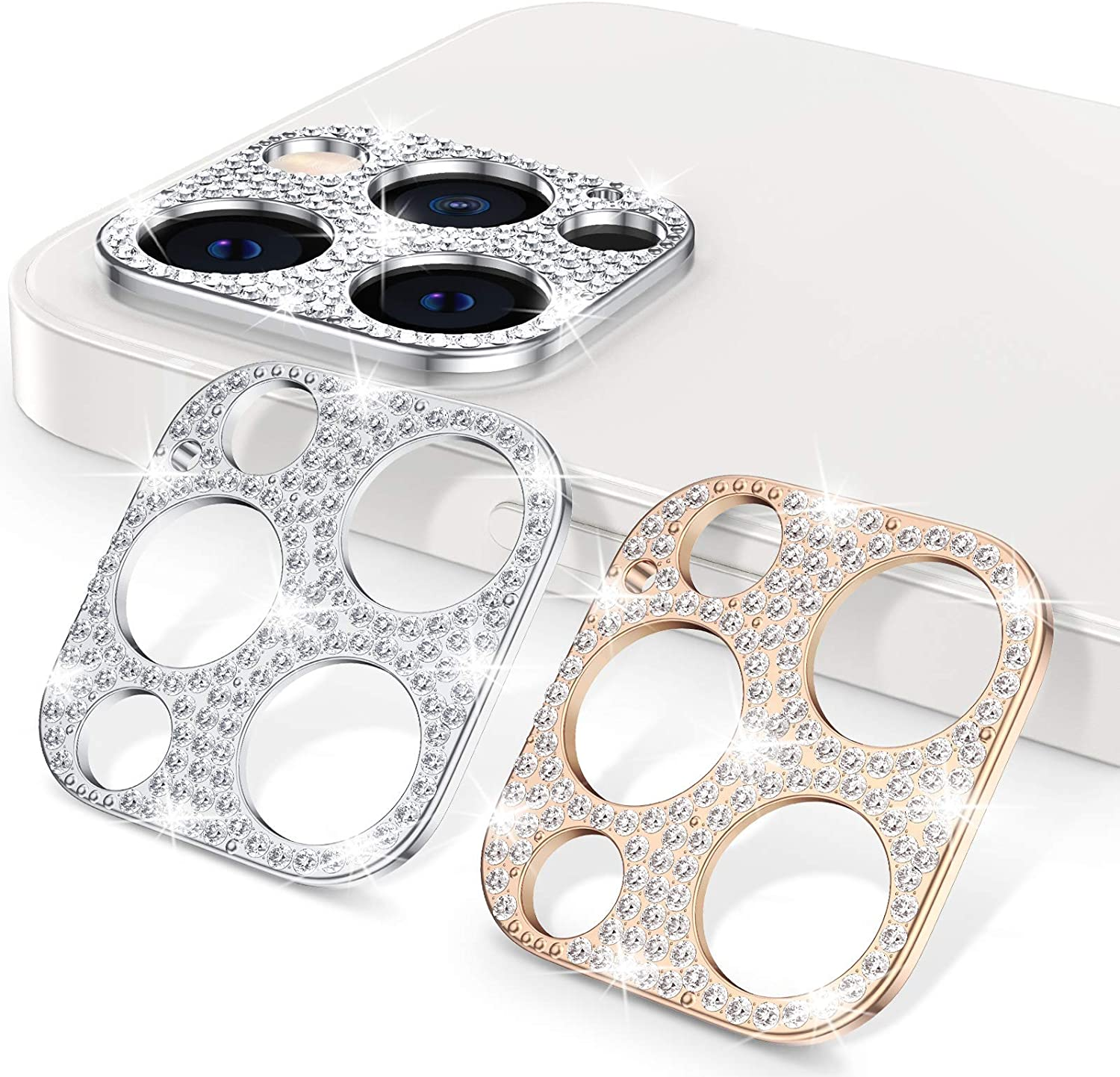 [2 Pack] Goton Bling Camera Lens Protector for iPhone 12 Pro, Glitter Diamond Lens Protective Decoration Sticker for iPhone 12 Pro 6.1inch(Silver+Rose Gold)