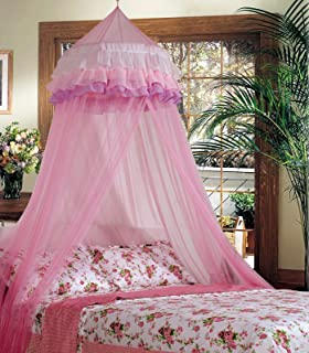 PROSPERLY U.S.Product Elegant Lace Bed Mosquito Netting Mesh Canopy Princess Round Dome Bedding Net