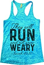 """Funny Threadz Womens Burnout Tank Top """"They Will Run and Not Grow Weary 40:31"""" Running Bible Verse Tank"""