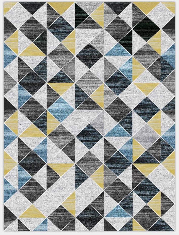80cm x 150cm The Rug House Milan Tapis de Salon Traditionnel Traditionnel Gris argent/é cr/ème Bleu Canard kal/éidoscope g/éom/étrique 27 x 5 Bleu