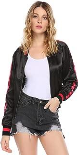 Women's Classic Solid Striped Biker Jacket Zip Up Fashion Bomber Jacket Coat