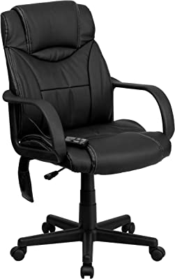 Flash Furniture Mid-Back Ergonomic Massaging Black LeatherSoft Executive Swivel Office Chair with Arms