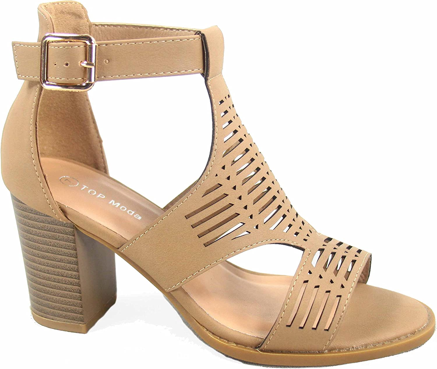 Top Moda Myth-50 Women's Fashion Open Toe Ankle Strap High Heel Sandal shoes
