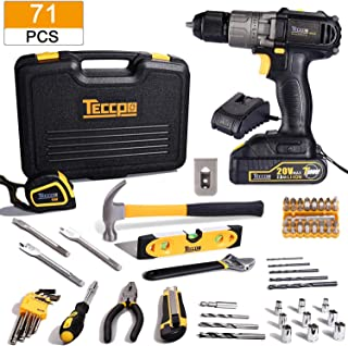Cordless Drill Combo Kit, 20V Drill Driver & 71Pcs Home Tool Kit, with 2.0Ah Battery and Fast Charger, Hammer, Socket Screwdriver, Wrench, Storage Toolbox, Best Gift for Christmas