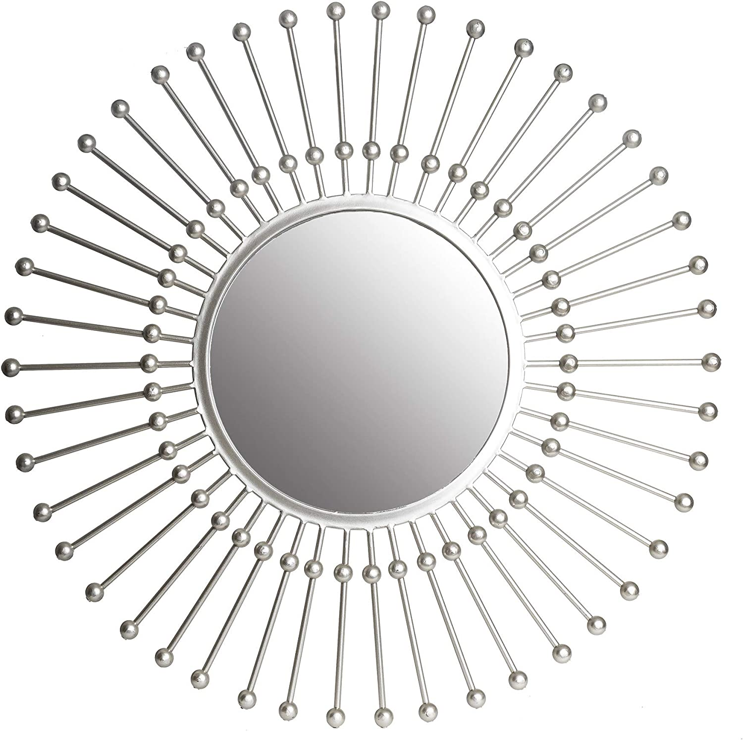 30  Silver Round Beaded Sunburst Wall Accent Mirror