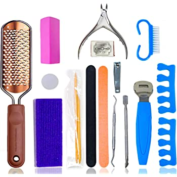 Pedicure Kit by Serene Selection, Professional and Home use, Foot Scrubber, Callus Remover Scraper Tools, File, Spa Supplies Set, For Dry Feet and Dead Skin Removal, Heel Tool for Calluses Eliminate