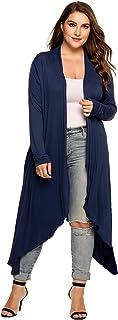 Zeagoo Women's Plus Size Long Sleeve Waterfall Asymmetric Drape Open Front Long Maxi Cardigan Sweater L-5XL