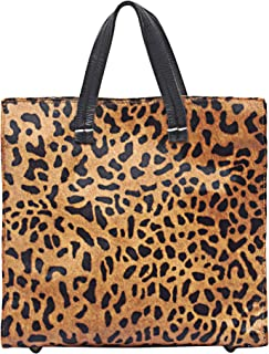 Leopard Animal Print Hair on Calf Leather Tote Handbag