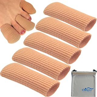 Chiroplax Gel Finger Toe Cap Sleeve (5 Long Caps+ 1 Pouch), Toe Protector Tube, Soft Fabric with Silicone Lining for Bunion, Hammer Toe, Callus, Corn, Blister (Medium)