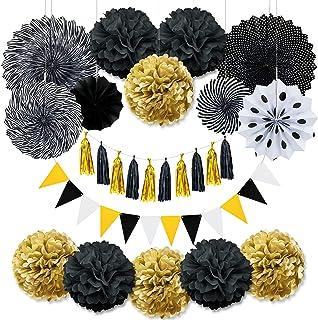 LOVEXIU 37 Piezas de decoración de Fiesta de graduación, Juego de decoración de Fiesta de Oro Negro, Pompones de Flores, G...