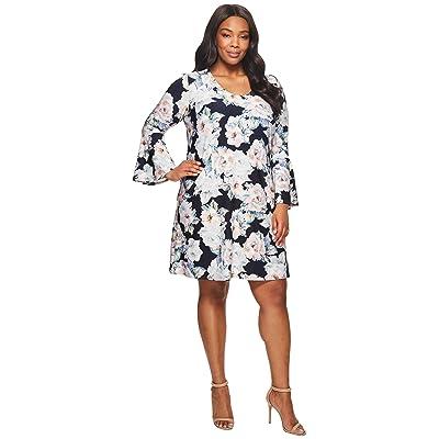 Karen Kane Plus Plus Size Flare Sleeve Taylor Dress (Floral) Women