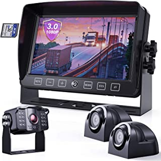 """$239 » eRapta Backup Camera System 3.0 with AHD 7"""" Monitor Built-in DVR Back Up Rear and Side Colorful Night Vison IP69K Waterpro..."""