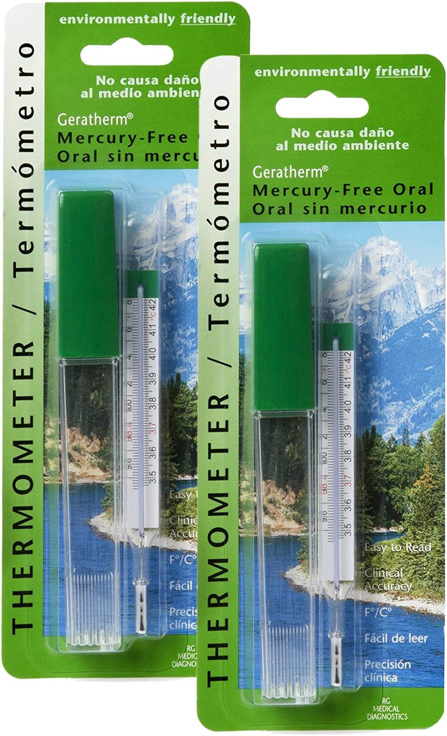 Geratherm Mercury Free Oral Glass Thermometer, Pack of 2 : Health & Household