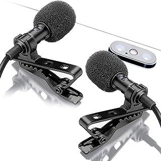 میکروفون Dual Lavalier - 2 میکروفون Lavalier - مجموعه میکروفون Lavalier - 2 بسته میکروفون برای مصاحبه ، وبلاگ یا پادکست