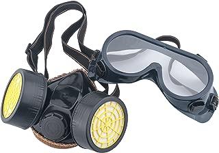Leeko Industrial Chemical Gas Anti-Dust Spray Dual Cartridge Respirator Paint Filter Mask Goggles Set,Black