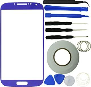 Eco-Fused Screen Replacement Kit Compatible Samsung Galaxy S4 Including 1 Replacement Screen Glass for Samsung Galaxy S4 i9500 / 1 Pair of Tweezers / 2mm Adhesive Tape/Tool Kit/Cloth