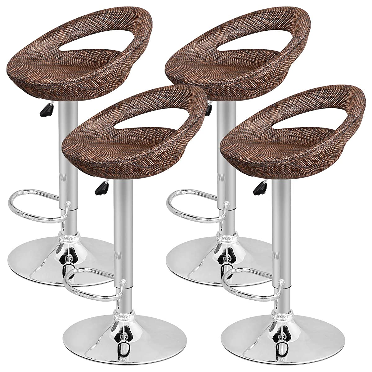 Nova Microdermabrasion Adjustable Pub Swivel Barstool All Weather Rattan Wicker Hydraulic Patio Barstool Indoor/Outdoor W/Open Back and Chrome Footrest, Set of 4