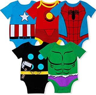 Marvel 5-Pack Avengers Baby Boy Creepers with Iron Man, Captain America, Spiderman, Hulk, & Thor