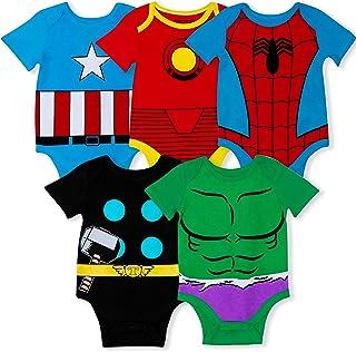 Marvel Lot de 5 bodies Avengers pour bébé garçon avec Iron Man, Captain America, Spiderman, Hulk, Thor