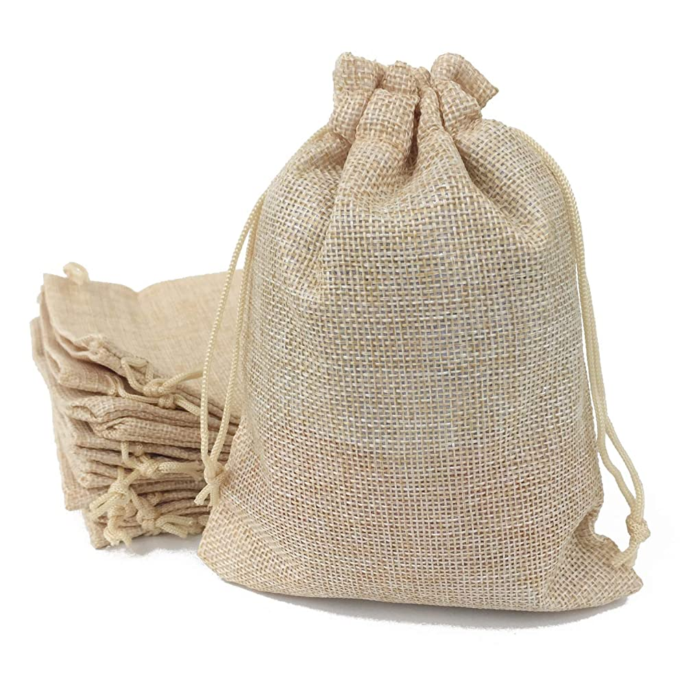 50PCS Burlap Favor Gift Bags with Drawstring and Cotton Lining ( 3.5 X 4.7 Inch , #03 Cream)