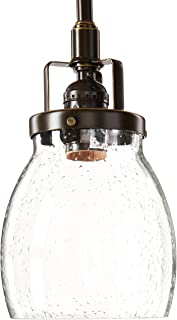 Sea Gull Lighting 6114501-782 Belton One-Light Mini-Pendant with Clear Seeded Glass Shade, Heirloom Bronze Finish