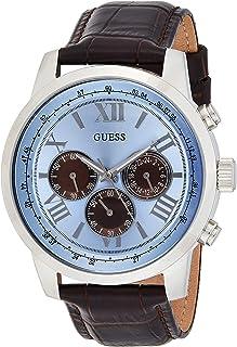 ساعة يد ستانلس ستيل أنيقة U0380G6 من جيس للرجال، متعددة الوظائف، مينا كرونوغراف، سِوار من الجلد الأصلي مزود بمشبك