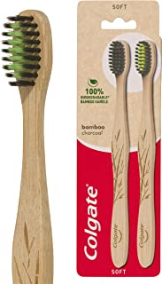 Colgate Bamboo Charcoal Soft Bristles Manual Toothbrush 100 percent Biodegradable Bamboo Handle BPA Free Value 2 Pack