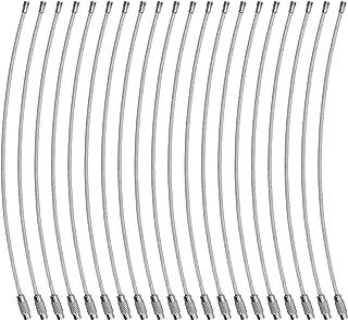 Wisdompro,20 Porte-clés Anneaux en Fil d'acier Inoxydable de 6,3 Pouces, Boucle de câble de 2 mm pour Suspendre Les étique...