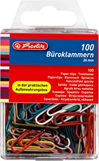 2 Boxen = 2000 Klammern, farbig sortiert Herlitz B/üroklammern 26mm in Aufbewahrungsbox