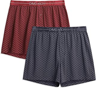 DAVID ARCHY 2 Pack Men's Boxers Shorts with Button Fly Ultra Soft Cotton-Modal Blend Underwear for men