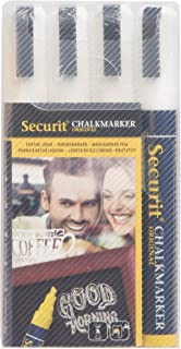 Securit BLSMA510BU Small Tip Chalk Markers, White, 4-Pack