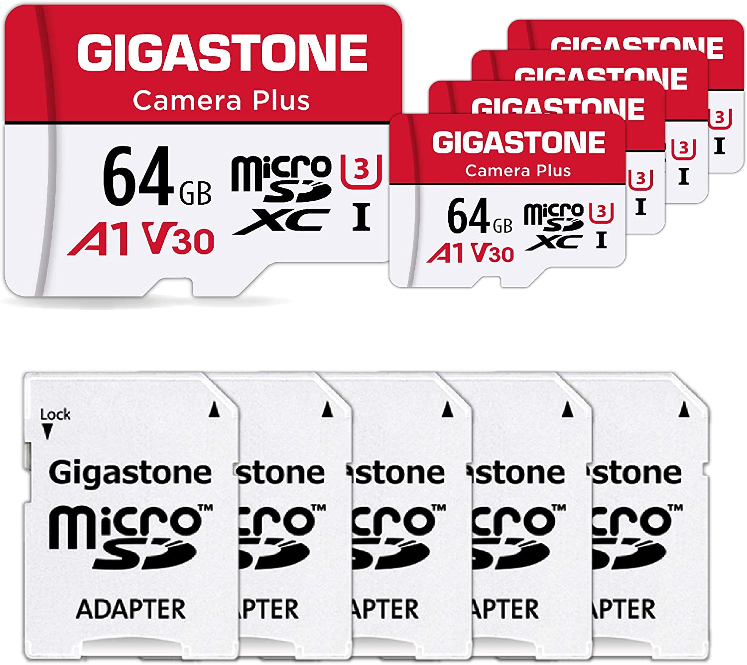 [Gigastone] 64GB 5-Pack Micro SD Card, Camera Plus, MicroSDXC Memory Card for Wyze, Video Camera, Security Camera, Smartphone, Fire tablet, 4K Video Recording, UHS-I U3 A1 V30, 95MB/s, with Adapter